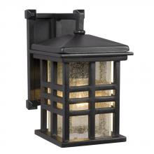 Galaxy Lighting 320296BK - 1-Light Outdoor Wall Mount Lantern - Black with Clear Seeded Glass