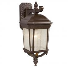 Galaxy Lighting 320370BZ - 1-Light Outdoor Wall Mount Lantern - Bronze with Clear Seeded Glass