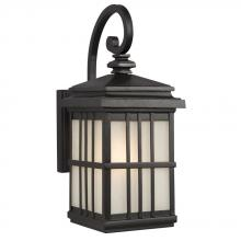 Galaxy Lighting 320540BK - 1-Light Outdoor Wall Mount Lantern - Black with Frosted Seeded Glass