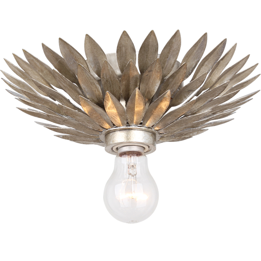 Crystorama Broche 1 Light Antique Silver Ceiling Mount