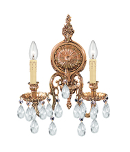 Crystorama 2902-OB-CL-MWP - Crystorama 2 Light Crystal Olde Brass Cast Brass Wall Mount