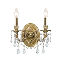 Crystorama 5522-AG-CL-MWP - Crystorama Gramercy 2 Light Clear Crystal Brass Sconce