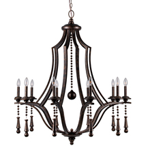 Crystorama 9359-EB - Crystorama Parson 10 Light English Bronze Chandelier