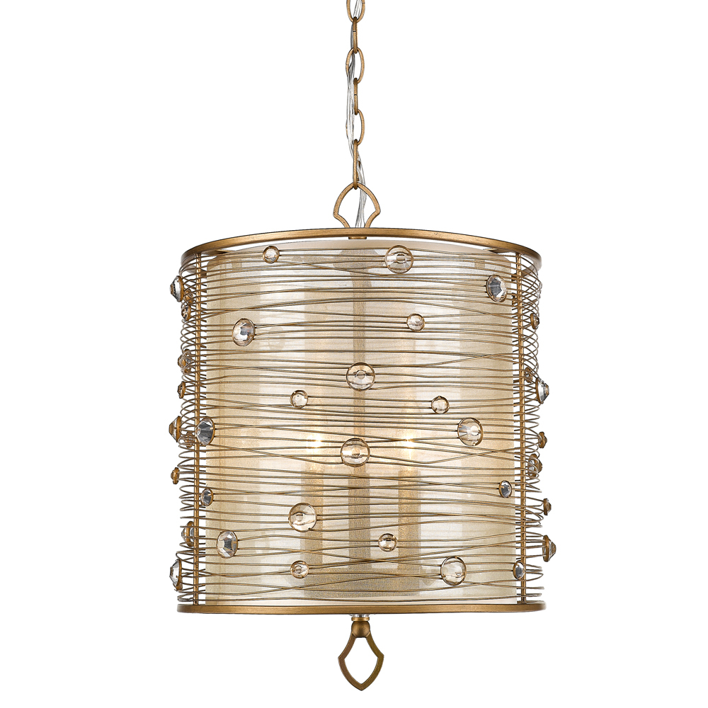 Joia 3 Light Pendant in Peruvian Gold with a Sheer Filigree Mist Shade