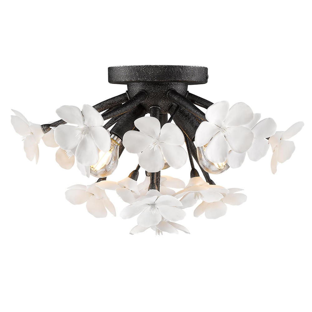 Posy Flush Mount in Dark Natural Iron
