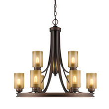 Golden Canada 1051-9 SBZ - Hidalgo 2 Tier - 9 Light Chandelier in Sovereign Bronze with Regal Glass