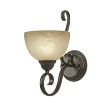 Golden Canada 1567-1W PC - Riverton 1 Light Wall Sconce in Peppercorn with Linen Swirl Glass