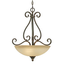 Golden Canada 1567-3P PC - Riverton 3 Light Pendant in Peppercorn with Linen Swirl Glass