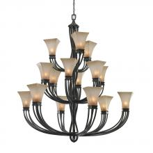 Golden Canada 1850-15L RT - Genesis 3 Tier - 15 Light Chandelier in Roan Timber with Evolution Glass