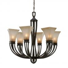 Golden Canada 1850-6 RT - Genesis 6 Light Chandelier in Roan Timber with Evolution Glass