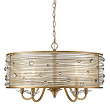 Golden Canada 1993-5 PG - Joia 5 Light Chandelier in Peruvian Gold with a Sheer Filigree Mist Shade