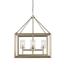 Golden Canada 2073-4 WG-CLR - Smyth 4 Light Chandelier in White Gold with Clear Glass