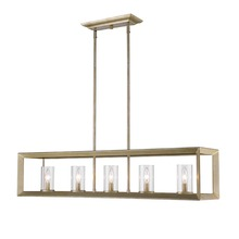 Golden Canada 2073-LP WG-CLR - Smyth 5 Light Linear Pendant in White Gold with Clear Glass