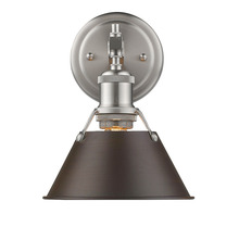 Golden Canada 3306-BA1 PW-RBZ - Orwell PW 1 Light Bath Vanity in Pewter with Rubbed Bronze Shade