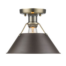 Golden Canada 3306-FM AB-RBZ - Orwell AB Flush Mount in Aged Brass with Rubbed Bronze Shade