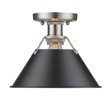 Golden Canada 3306-FM PW-BLK - Orwell PW Flush Mount in Pewter with Black Shade