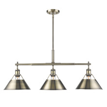 Golden Canada 3306-LP AB-AB - Orwell AB Linear Pendant in Aged Brass with Aged Brass Shade