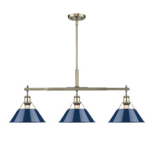Golden Canada 3306-LP AB-NVY - Orwell AB Linear Pendant in Aged Brass with Navy Blue Shade