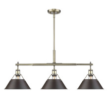 Golden Canada 3306-LP AB-RBZ - Orwell AB Linear Pendant in Aged Brass with Rubbed Bronze Shade
