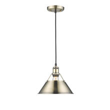 "Golden Canada 3306-M AB-AB - Orwell AB 1 Light Pendant - 10"" in Aged Brass with Aged Brass Shade"