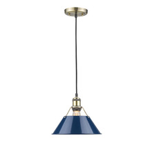 "Golden Canada 3306-M AB-NVY - Orwell AB 1 Light Pendant - 10"" in Aged Brass with Navy Blue Shade"