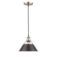"Golden Canada 3306-M AB-RBZ - Orwell AB 1 Light Pendant - 10"" in Aged Brass with Rubbed Bronze Shade"