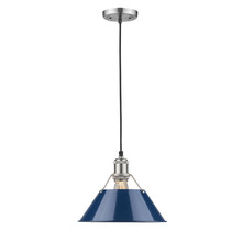 "Golden Canada 3306-M PW-NVY - Orwell PW 1 Light Pendant - 10"" in Pewter with Navy Blue Shade"