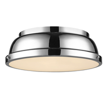 "Golden Canada 3602-14 CH-CH - Duncan 14"" Flush Mount in Chrome with a Chrome Shade"