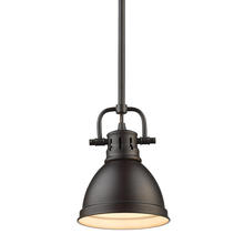 Golden Canada 3604-M1L RBZ-RBZ - Duncan Mini Pendant with Rod in Rubbed Bronze with a Rubbed Bronze Shade