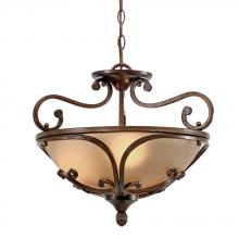 Golden Canada 4002-SF RSB - Loretto Semi-Flush (Convertible) in Russet Bronze with Riffled Tannin Glass
