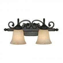 Golden Canada 4074-2 RBZ - Belle Meade 2 Light Bath Vanity in Rubbed Bronze with Tea Stone Glass