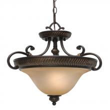 Golden Canada 6029-SF EB - Jefferson Semi-Flush (Convertible) in Etruscan Bronze with Antique Marbled Glass