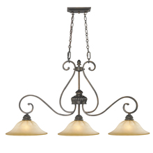 Golden Canada 7116-10 LC - Mayfair 3 Light Linear Pendant in Leather Crackle with Crème Brulee Glass