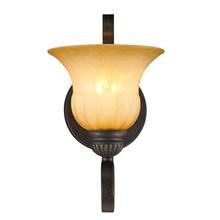 Golden Canada 7116-1W LC - Mayfair 1 Light Wall Sconce in Leather Crackle with Crème Brulee Glass