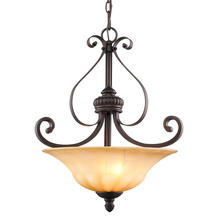 Golden Canada 7116-3P LC - Mayfair 3 Light Pendant in Leather Crackle with Crème Brulee Glass