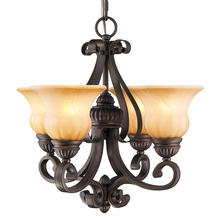 Golden Canada 7116-GM4 LC - Mayfair 4 Light Mini Chandelier in Leather Crackle with Crème Brulee Glass