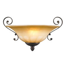 Golden Canada 7116-WSC LC - Mayfair Wall Sconce in Leather Crackle with Crème Brulee Glass