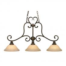 Golden Canada 8063-10 BUS - Heartwood 3 Light Linear Pendant in Burnt Sienna with Tea Stone Glass