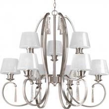 Progress P4525-09 - Nine Light Brushed Nickel Clear Glass Up Chandelier