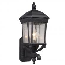 Galaxy Lighting 320371BK - 1-Light Outdoor Wall Mount Lantern - Black with Clear Seeded Glass