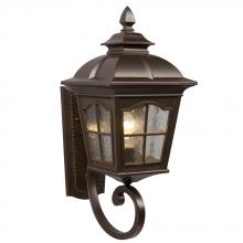 Galaxy Lighting 320387BZ - 1-Light Outdoor Wall Mount Lantern - Bronze with Clear Water Glass